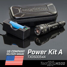 LM500 Power Kit A Tactical Flashlight w/FREE Case + Wall Charger + 18650 Battery