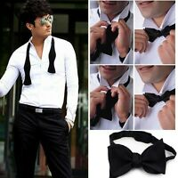 Adjustable Mens Solid Color Plain Satin Formal Self Bow Tie Necktie Ties Sell