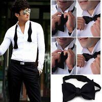 Adjustable Mens Solid Color Plain Satin Formal Self Bow Tie Necktie Ties Black H