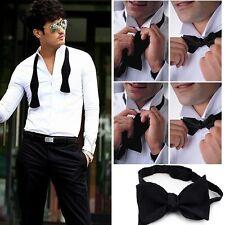 Adjustable Mens Solid Color Plain Satin Formal Self Bow Tie Necktie Ties Black