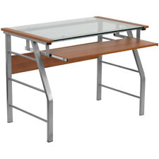 Computer Desk with Clear Tempered Glass Top, Pull-Out Keyboard Tray & Metal Base