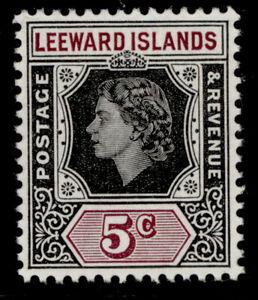 LEEWARD ISLANDS QEII SG131, 5c black & brown-purple, NH MINT.