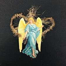 Antique Christmas Ornament Metal Tinsel Full Body Paper Angel in Blue Gown 4""
