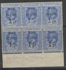 CAYMAN ISLANDS SG54+54a(x2) 1917 1½d on 2½d DEEP BLUE BLOCK OF 6 MNH