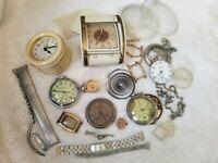 VINTAGE POCKET WATCH & PARTS REPAIR LOT