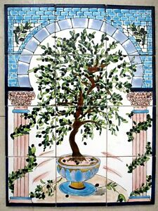 "Hand Painted Ceramic tile art Mosaic wall mural Olive Tree BACKSPLASH  18"" x 24"""