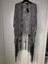 BNWT ROBERTO CAVALLI  SILK KAFTAN SHAWL DRESS SNAKE PRINT BEADED FRINGED CAMILLA
