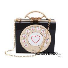 Designer Women Clutch Vintage Telephone Shape Hard Box Transparent Handbag Purse