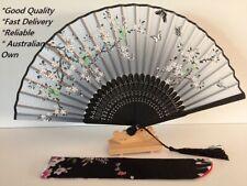 Japanese Silk Hand Fan - Cherry blossom n Sakura with Silk Fan Holder SSF007