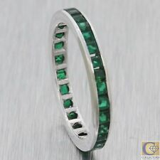 1930s Antique Art Deco 14k White Gold French Cut Synthetic Emerald Band Ring M8