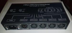 4 way optical isolated DMX splitter amplifier xlr and  rj45  UK Seller