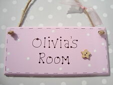 Personalised Girls Bedroom Kids Sign Room Pink Name Childrens Plaque Baby Gift