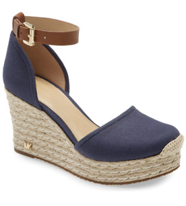 MICHAEL Michael Kors Kendrick Espadrille Wedge Sandals Womens Size 7.5 Navy