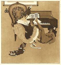FRANZ VON BAYROS - Bonbonnière - Die Klavierlehrerin - Aquatintaradierung 1907