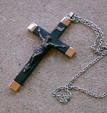 """Vintage Wood & Metal CRUCIFIX from GERMANY, 3-7/8"""" Tall, On Chain"""