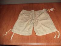 New Womens Junior Size 11 OP Khaki Casual Shorts Hiking Drawstring Legs @@
