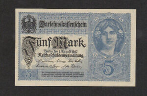 5 MARK AUNC CRISPY BANKNOTE FROM GERMANY 1917 PICK-56