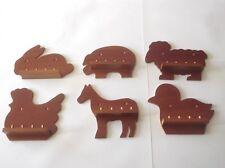 6 x 4pc Mini Farm Animal Thimble Display Racks ( Mahogany )(huge range-see list)