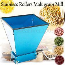 Grain Processor Mill Barley Grinder Homebrew Malt Crusher 2 Roller with Hopper