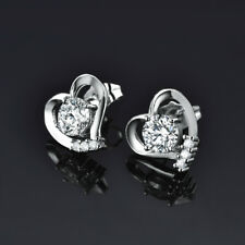 HUCHE Silver White Gold Filled Heart Stud Diamond Clear Topaz Lady Party Earring