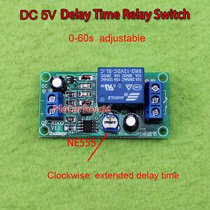 DC 5V Adjustable 0-60 Second Delay Time Off Switch NE555 Timer Control Module