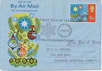 "2441 1972 QEII Christmas 5 P. superb Air Letter to Altringham FDI ""BETHLEHEM"""