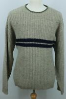 J. Crew men's XL Vintage 100% Wool Shetland Striped crew Sweater thick warm