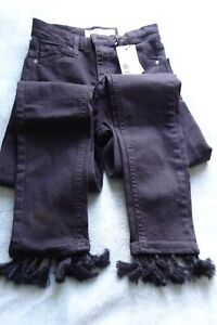 Topshop womens jeans Jamie high waisted ankle grazers black with tassle4 W26 L34