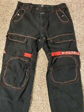 Size 40M Vintage Marithe Francois Girbaud Black Jeans Red Strap Baggy Pants 90s