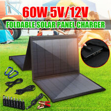 60W Portable Folding Solar Panel Charger 5V Dual USB Bag Battery pack  !