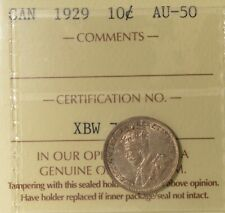 1929 Canada Silver 10 Cents - Graded ICCS AU-50  Serial XBW 702