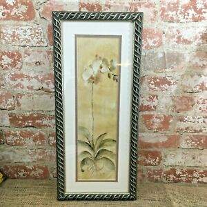 Vintage Framed White Orchid Panel by Cheri Blum 1999, Cheri Blum Orchid Panel
