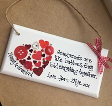 Personalised Handmade Wooden Plaque - Grandparents Christmas Gift Gran Present
