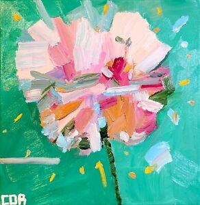 IMPRESSIONISM CONTEMPORARY PAINTING FLOWER ACRYLIC ORIGINAL FLORAL MODERNIST NR