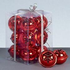 Premier Christmas Decoration 12 Pack Snowflake 40mm Jingle Bell Baubles - Red