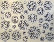 32 Glitter Snowflake Window Stickers Mirror Glass Vintage Christmas Decorations