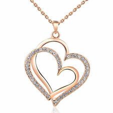 18K Rose Gold Plated Linked Crystal Heart Necklace Made With Swarovski Crystals