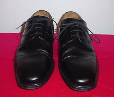 Pronto Uomo Firenze Mens Black Leather Cap Toe Italy Made Dress Shoes 12 M