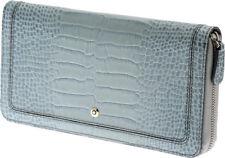 Montblanc Women's Wallet 8cc Zip & CC Light Blue Aqua Marine 107625 La Bohème