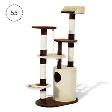 Pawhut 55-inch Cat Tree Scratching Post Kitten House Kitty Furniture w/ Condo