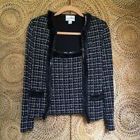 Joseph Ribkoff Jacket & Camisole Set Black w/ White & Glitter Checks Fur & Seq 4