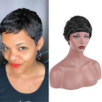 Sexy Black Short Bob Wig Synthetic Layered Wig Pixie Cut Full Hair Wigs Cosplay