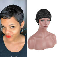 Synthetic Hair Short Curly Black Wig Pixie Cut Wig for Black Women Cosplay Party