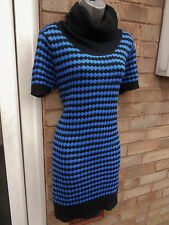 NEW LOOK ladies womens blue and black stripy knitted dress size 12