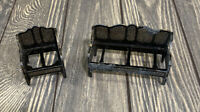 Vintage Black Chair And Couch Metal Set Dollhouse Accessories