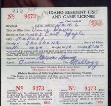 IDAHO DUCK STAMP RW23 (used) On 1956 Hunting/ Fishing License  - 12