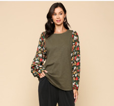 GIGIO By UMGEE Size Large Olive With Floral Printed Dolman Sleeve Round Hem Top