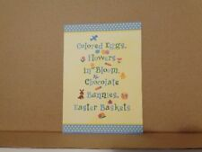 Unused Current Easter Card Yellow Bunny Rabbit Chocolate Flowers Bloom Baskets