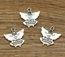 20 Angel Charms Angels Watching Over Me Charms Antique Silver Tone 20x20 2509