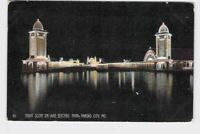 PPC POSTCARD MISSOURI KANSAS CITY ELECTRIC PARK NIGHT SCENE ON LAKE 1908